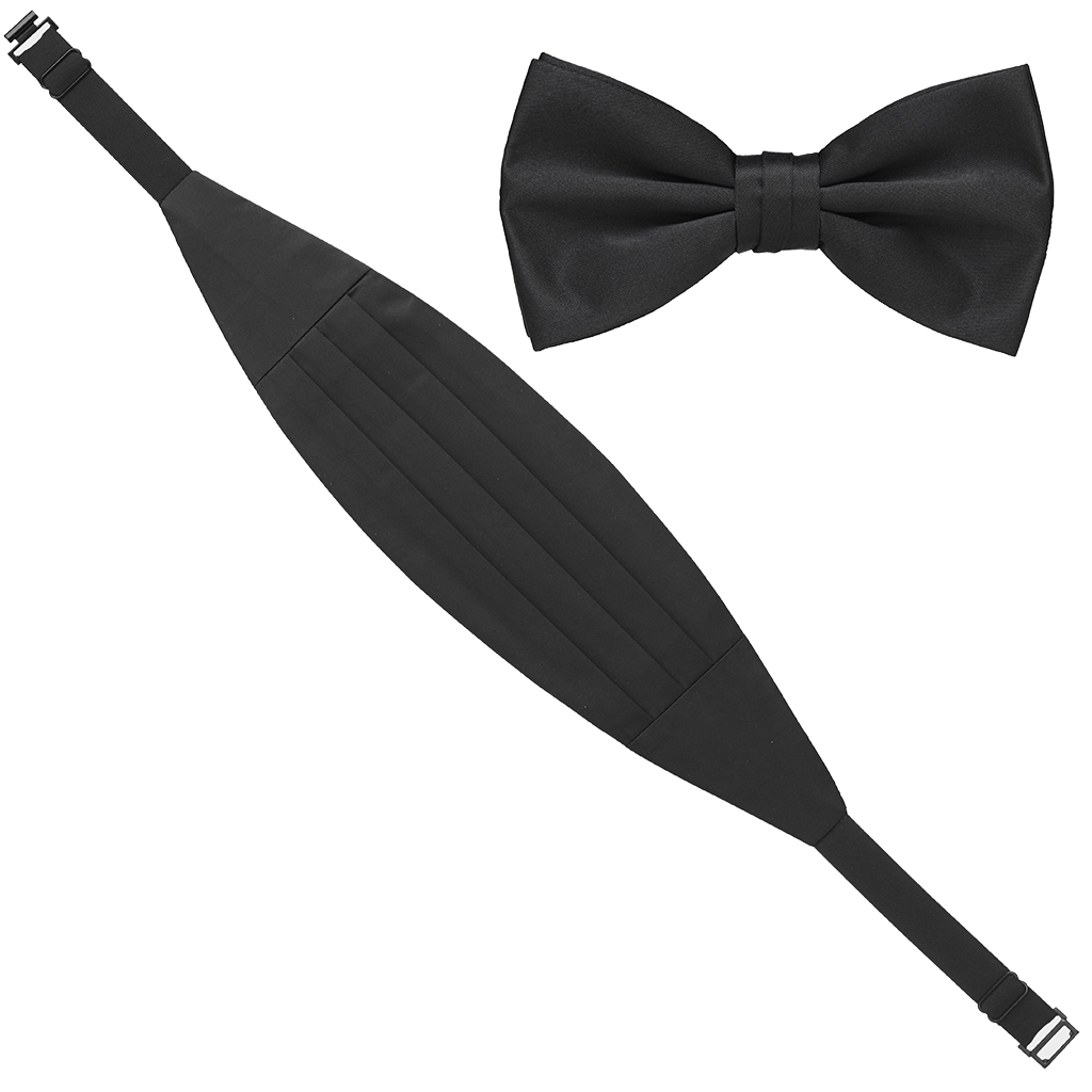 Cummerbund  and Bow Tie Set - BLACK