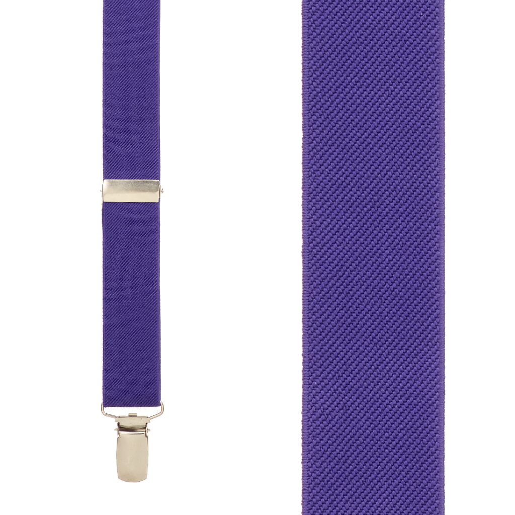1 Inch Wide Clip Y-Back Suspenders in Purple - Front View
