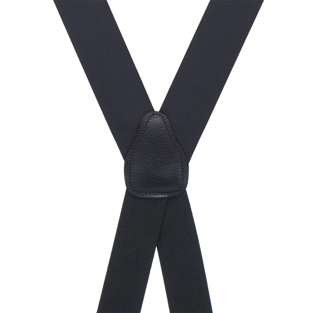 Grosgrain Clip Suspenders - Black Rear View
