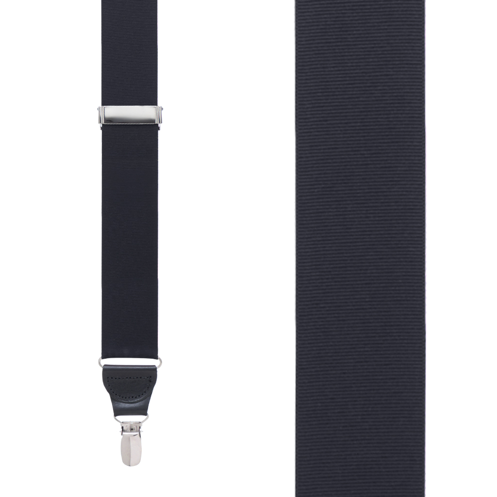Grosgrain Clip Suspenders - Black Front View