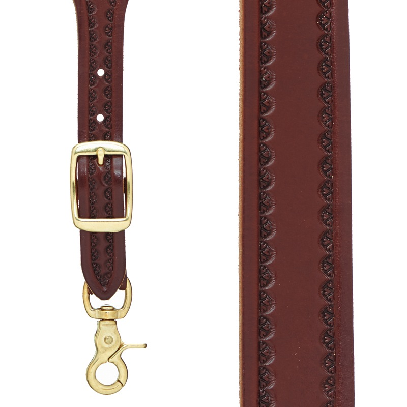 Border Stamped 1.5 Inch Wide Western Leather Suspenders - BROWN - Front View
