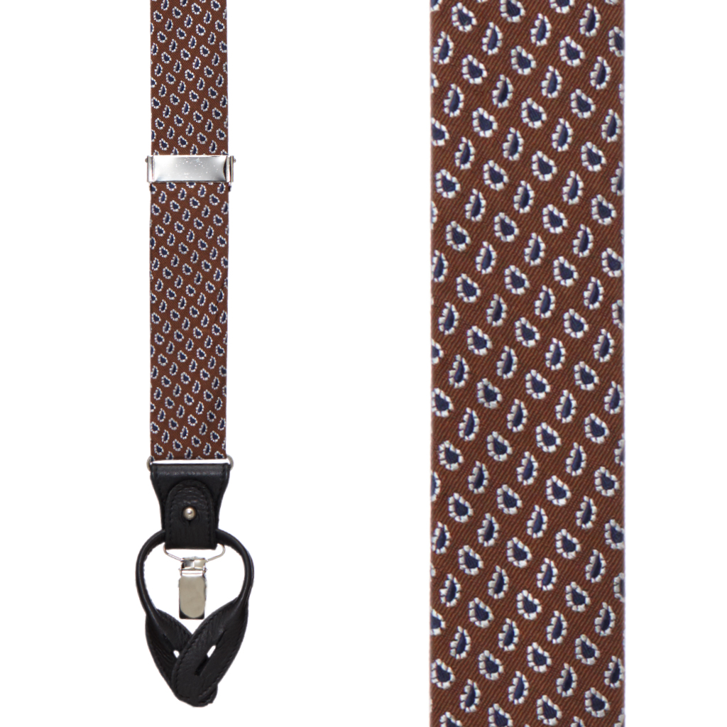 COFFEE Small Paisley Silk Suspenders - Convertible End
