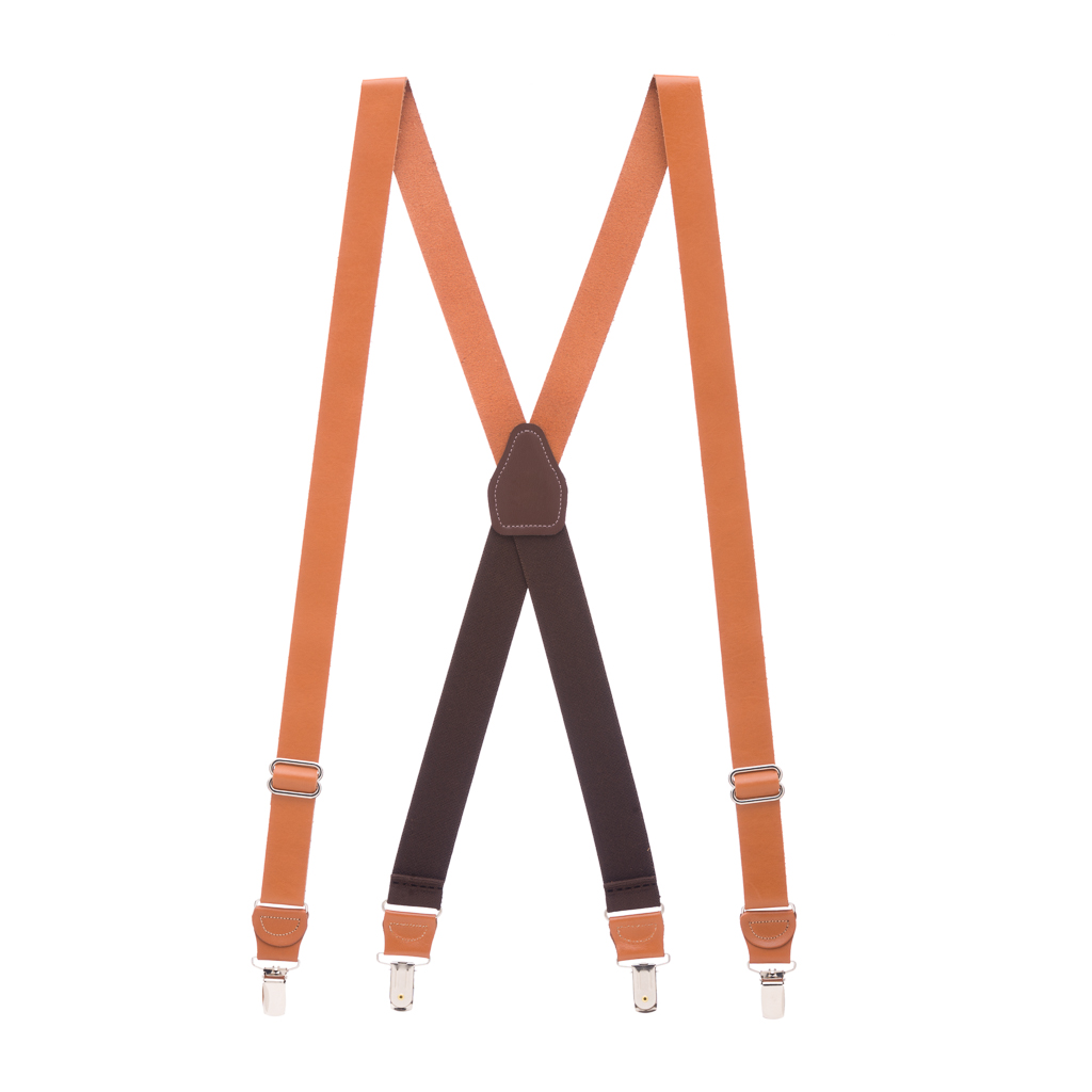 Full View - All Leather Suspenders - Clip - Tan
