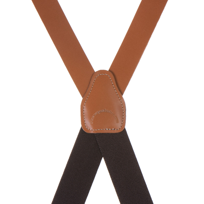 Rear View - All Leather Suspenders - Clip - Tan