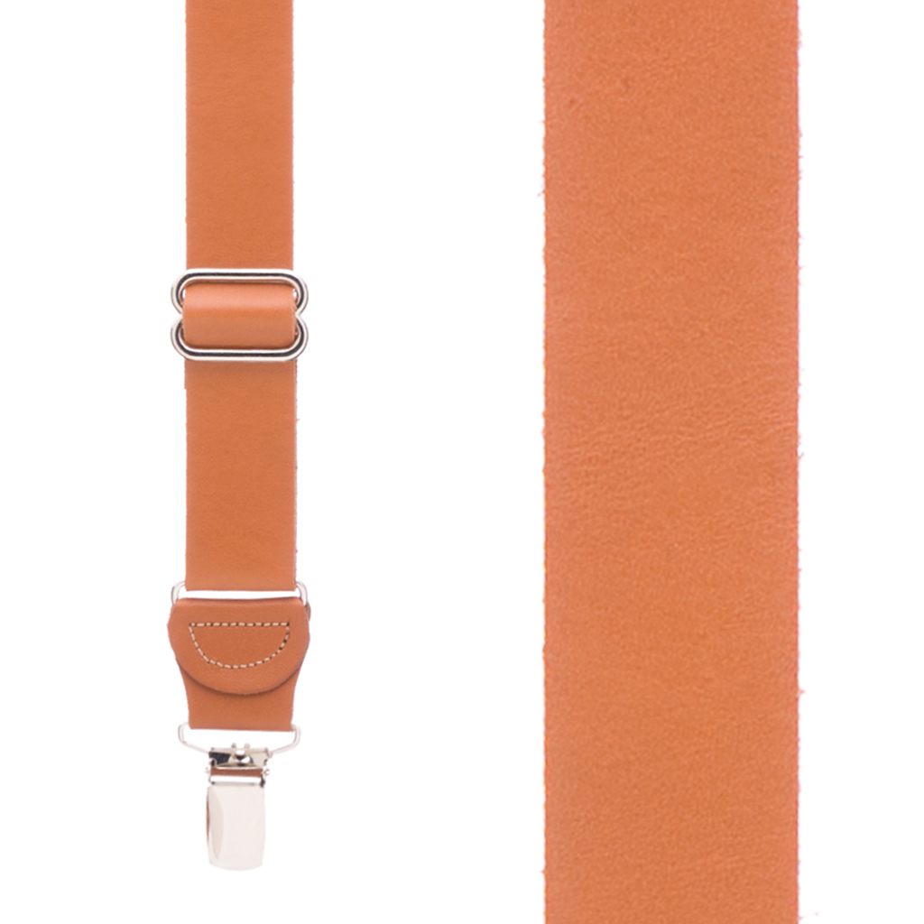 Front View - All Leather Suspenders - Clip - Tan