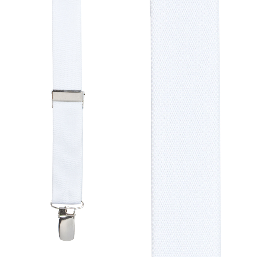 1 Inch Wide Clip X-Back Suspenders in White - Front View