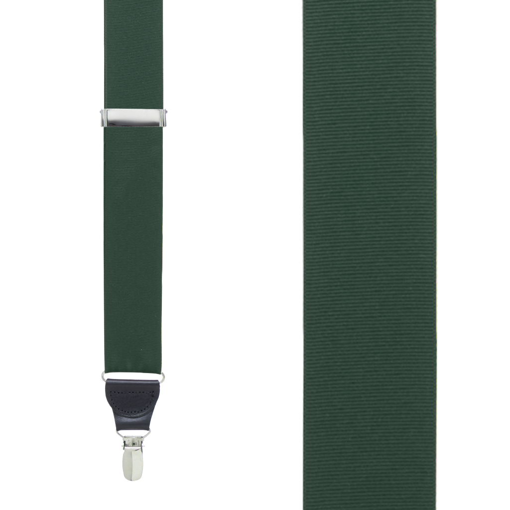 Grosgrain Suspenders in Hunter Green - Front View