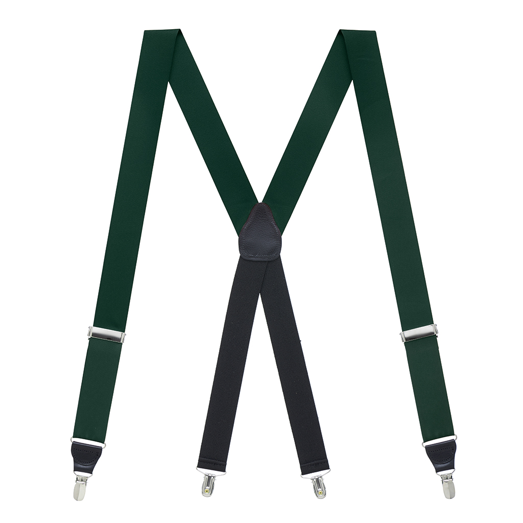 Grosgrain Suspenders in Hunter Green - Full View