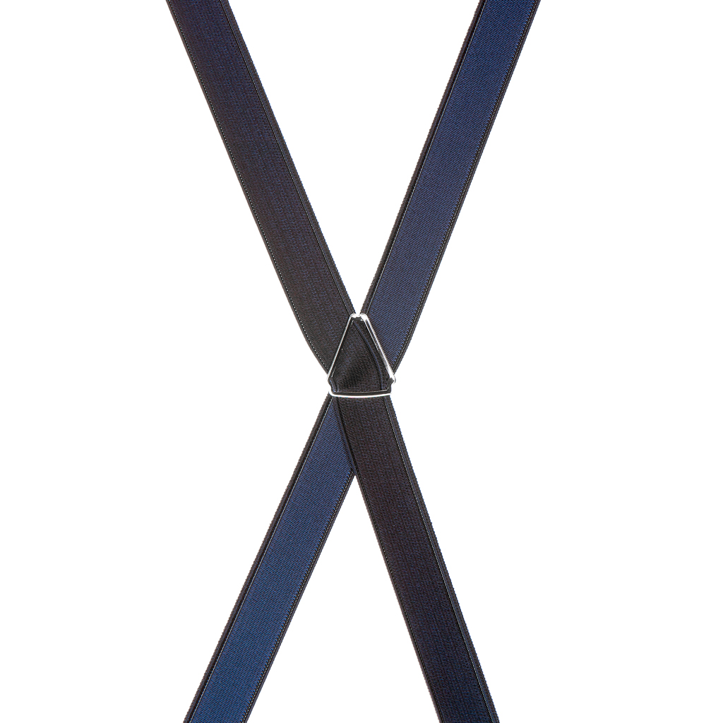 3/4 Inch Wide Thin Suspenders - NAVY BLUE (Satin) - Rear View