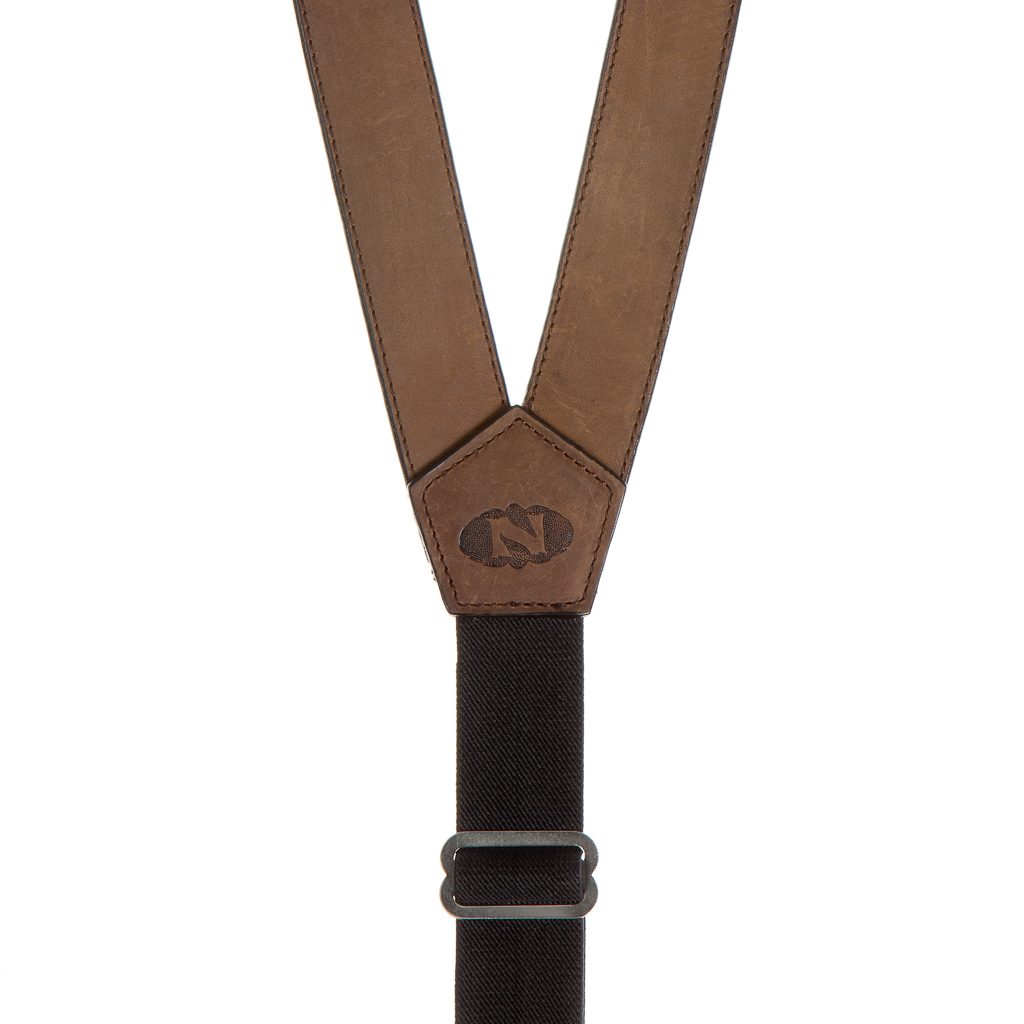 Apache Western All Leather Suspenders - Rear View