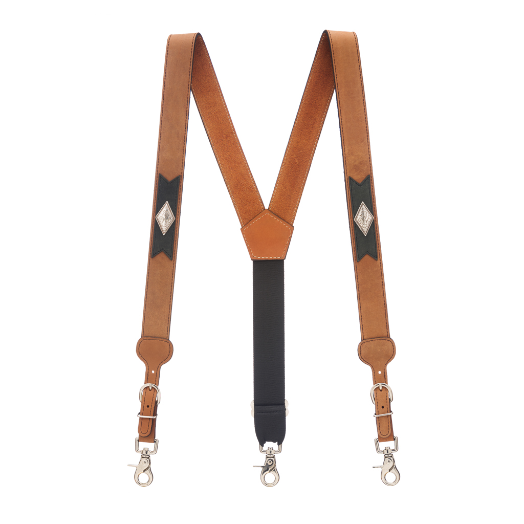 Apache Western All Leather Suspenders - Full View