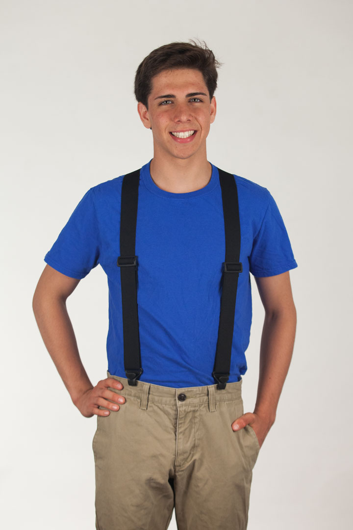 Model wearing suspenders - front view