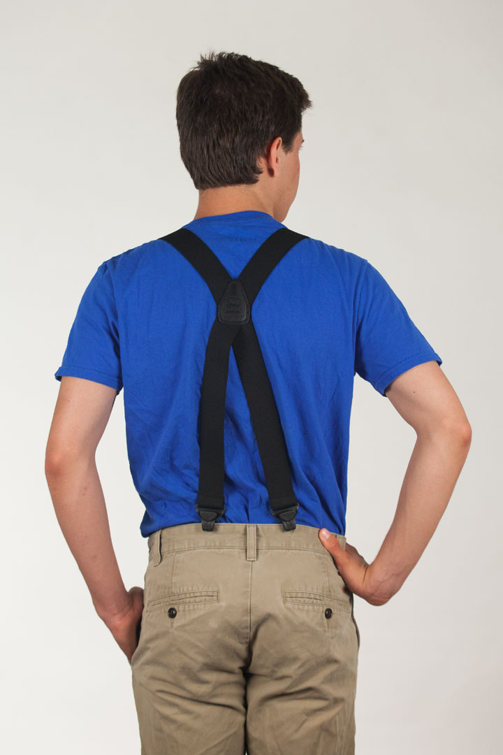 Model wearing suspenders - rear view