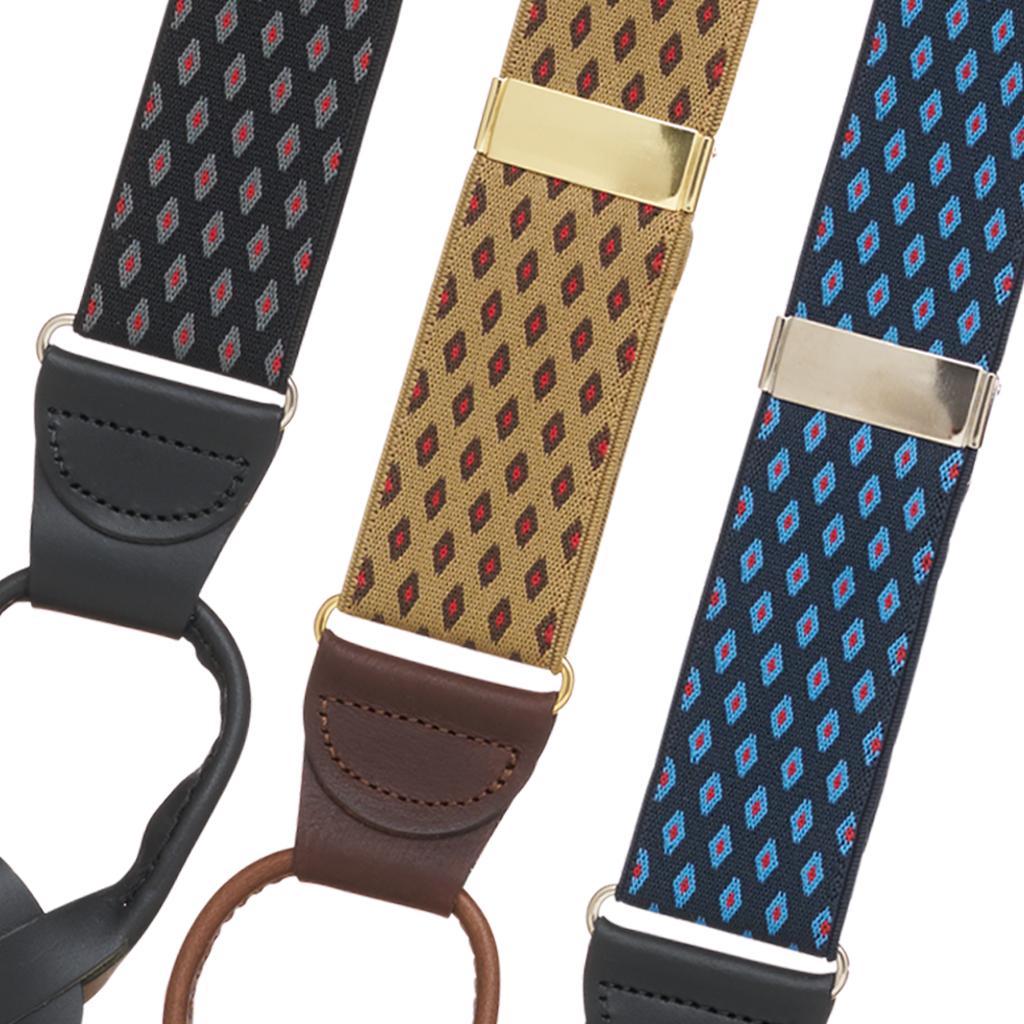 Jacquard Diamond Burst Suspenders - Button - Front View All Colors