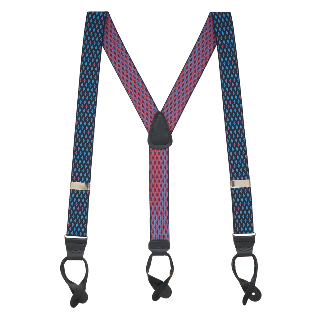 Jacquard Diamond Burst Suspenders - Button - Full View