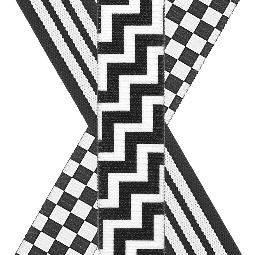Black & White Y-Back Suspenders - Front View