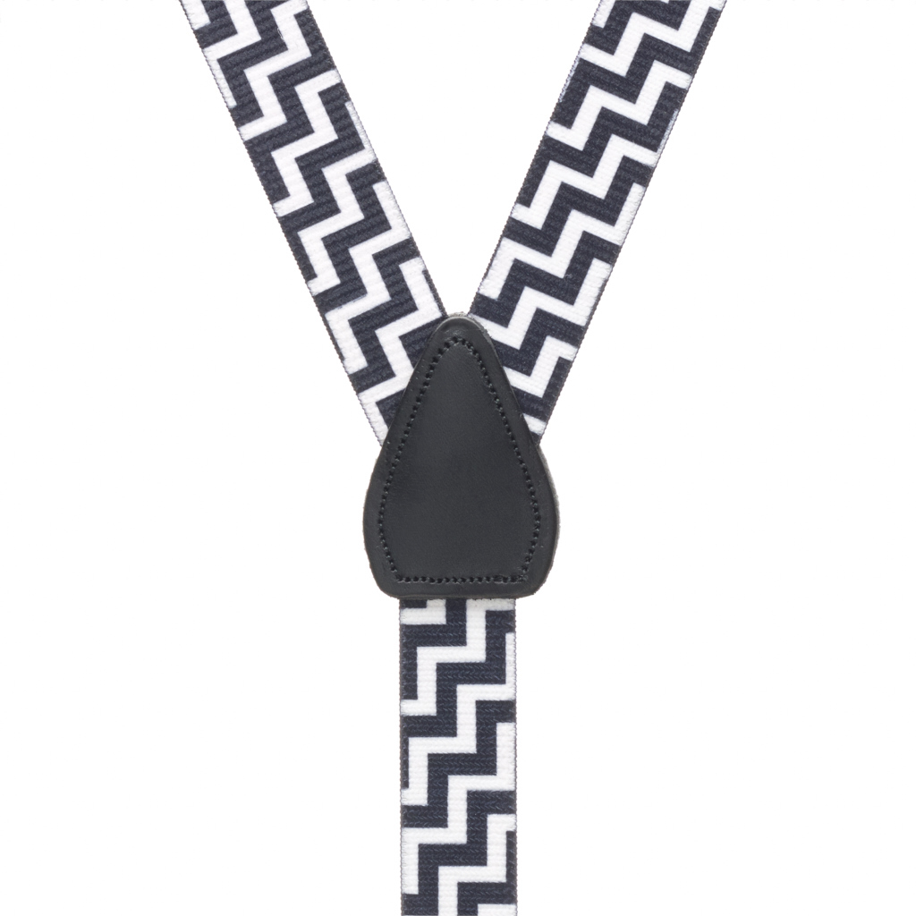 Y-Back Black & White Suspenders - 1 Inch Wide