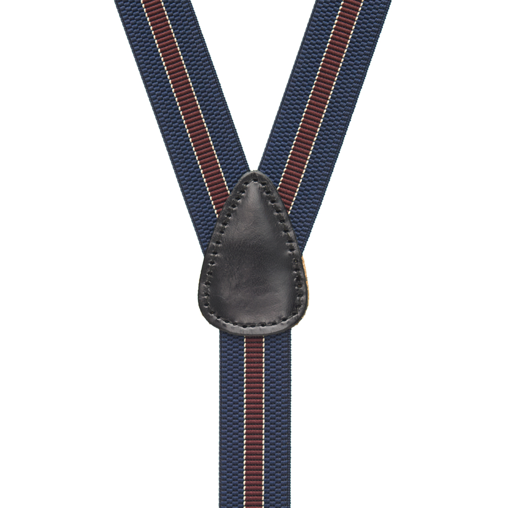 Striped Suspenders in Navy with Burgundy - Rear View