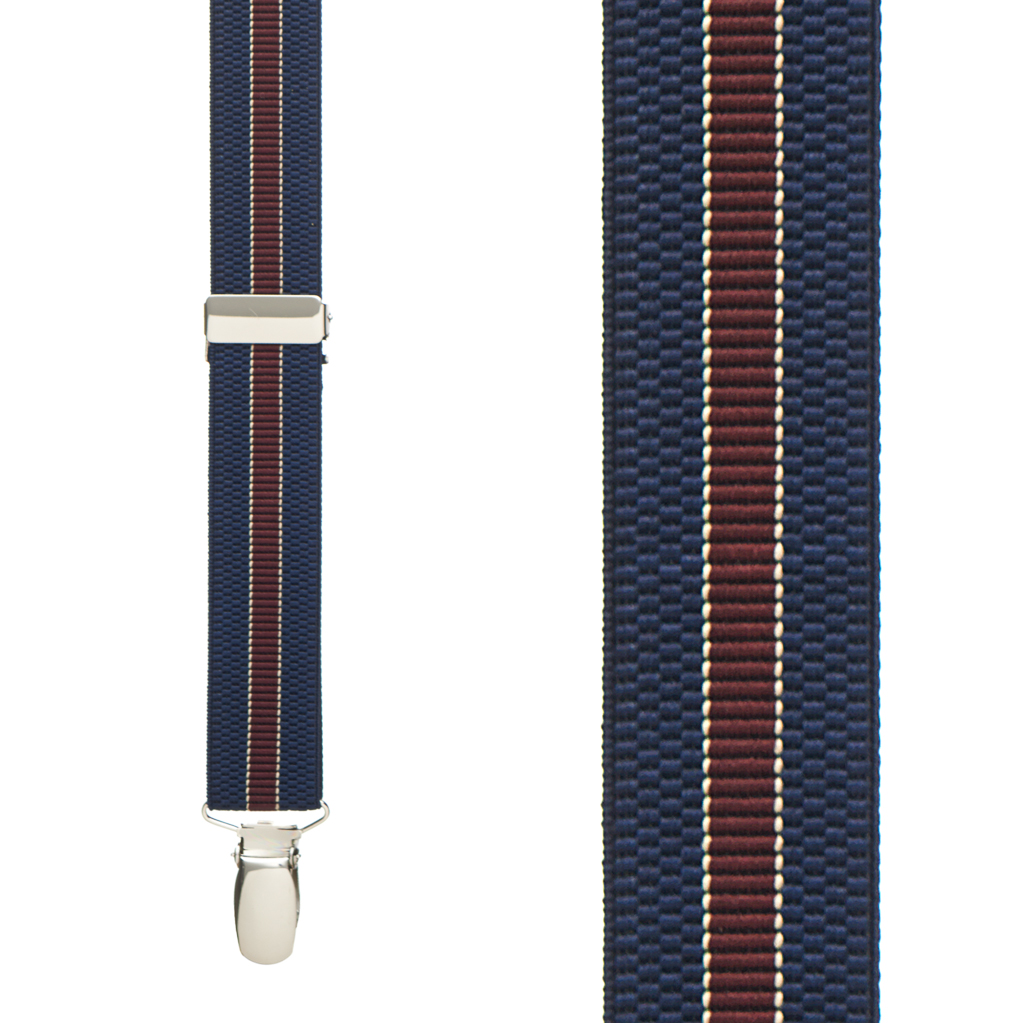 Striped Suspenders in Navy with Burgundy - Front View