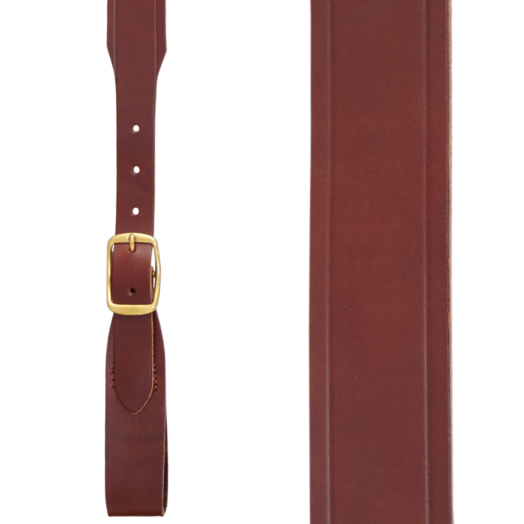 Plain w/Crease Handcrafted Western Leather Belt Loop Suspenders - BROWN - Front View