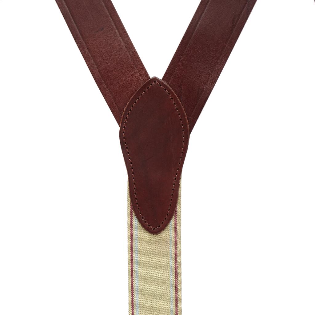 Plain w/Crease Handcrafted Western Leather Belt Loop Suspenders - BROWN - Rear View