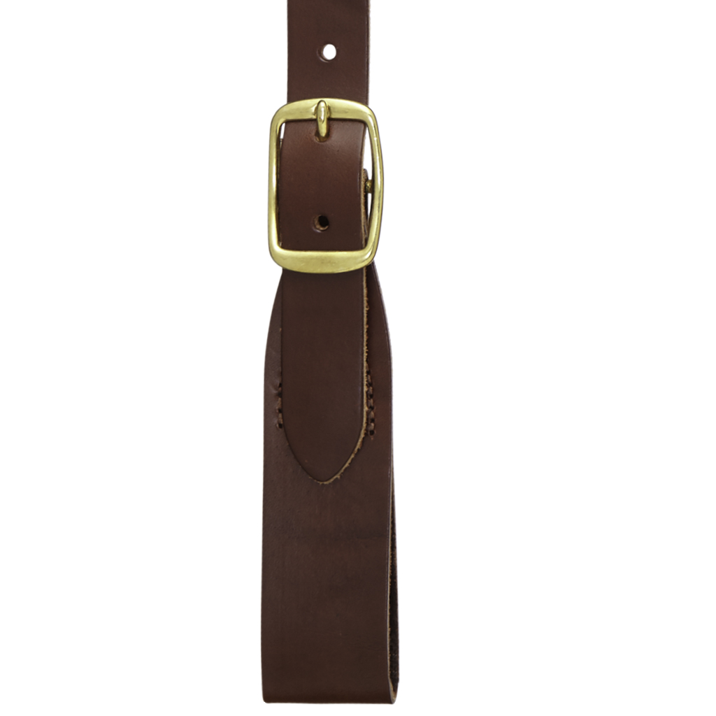 Plain w/Crease Handcrafted Western Leather Belt Loop Suspenders - BROWN - Loop View