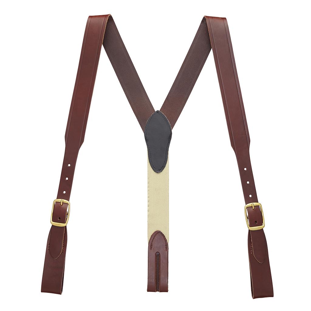 Plain w/Crease Handcrafted Western Leather Belt Loop Suspenders - BROWN - Full View