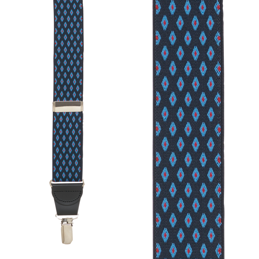 Front View - Jacquard Diamond Burst Clip Suspenders - Navy Blue