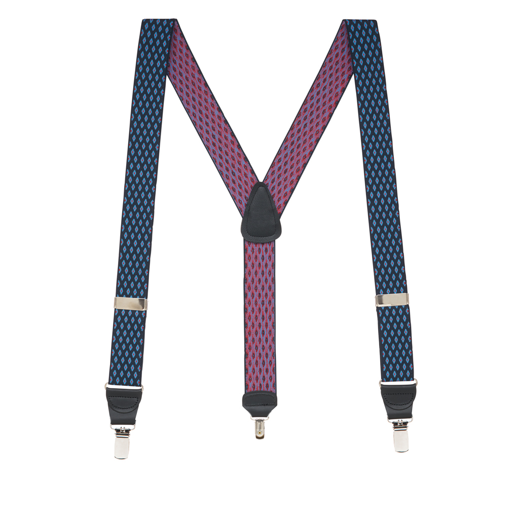 Full View - Jacquard Diamond Burst Clip Suspenders - Navy Blue