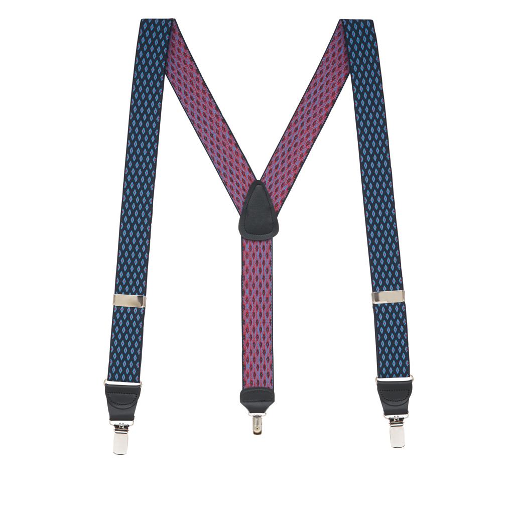 Full View - Jacquard Diamond Burst Clip Suspenders - Navy Blue