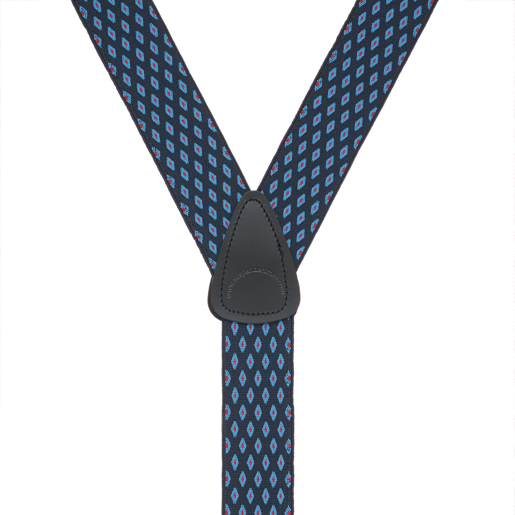 Rear View - Jacquard Diamond Burst Clip Suspenders - Navy Blue