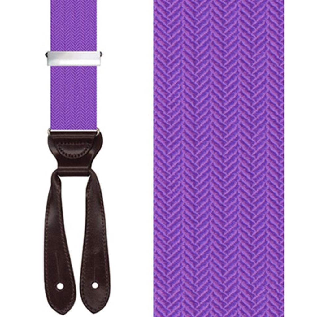 Silk Herringbone Suspenders in Purple - Front View