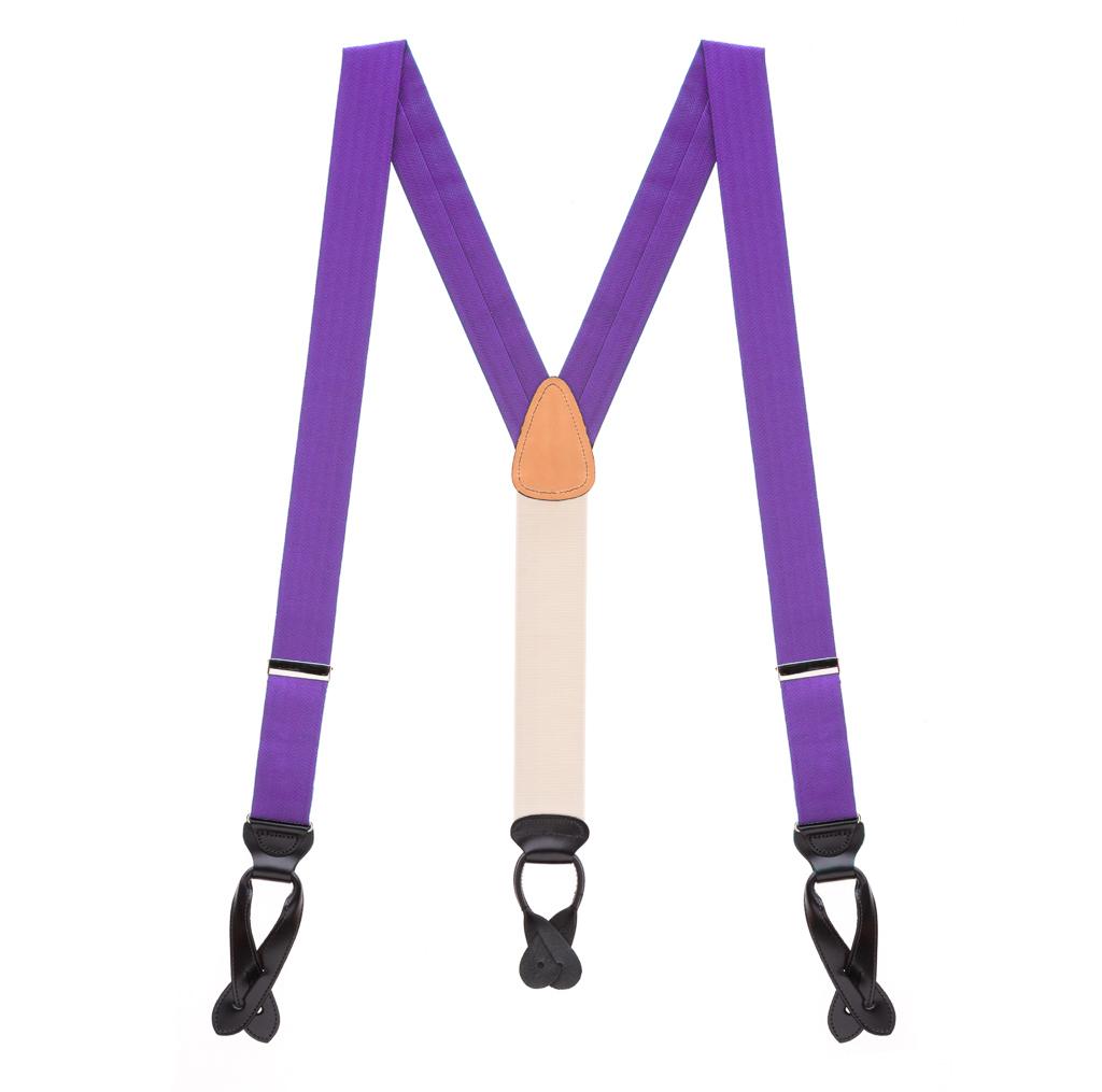 Silk Herringbone Suspenders in Purple - Full View