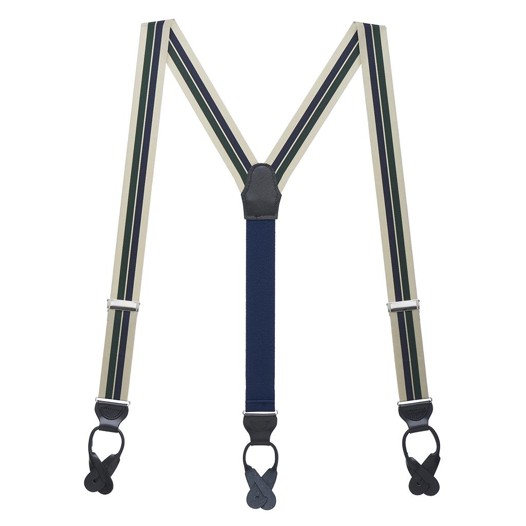 Grosgrain Suspenders in Khaki Hunter Navy Stripes - Full View
