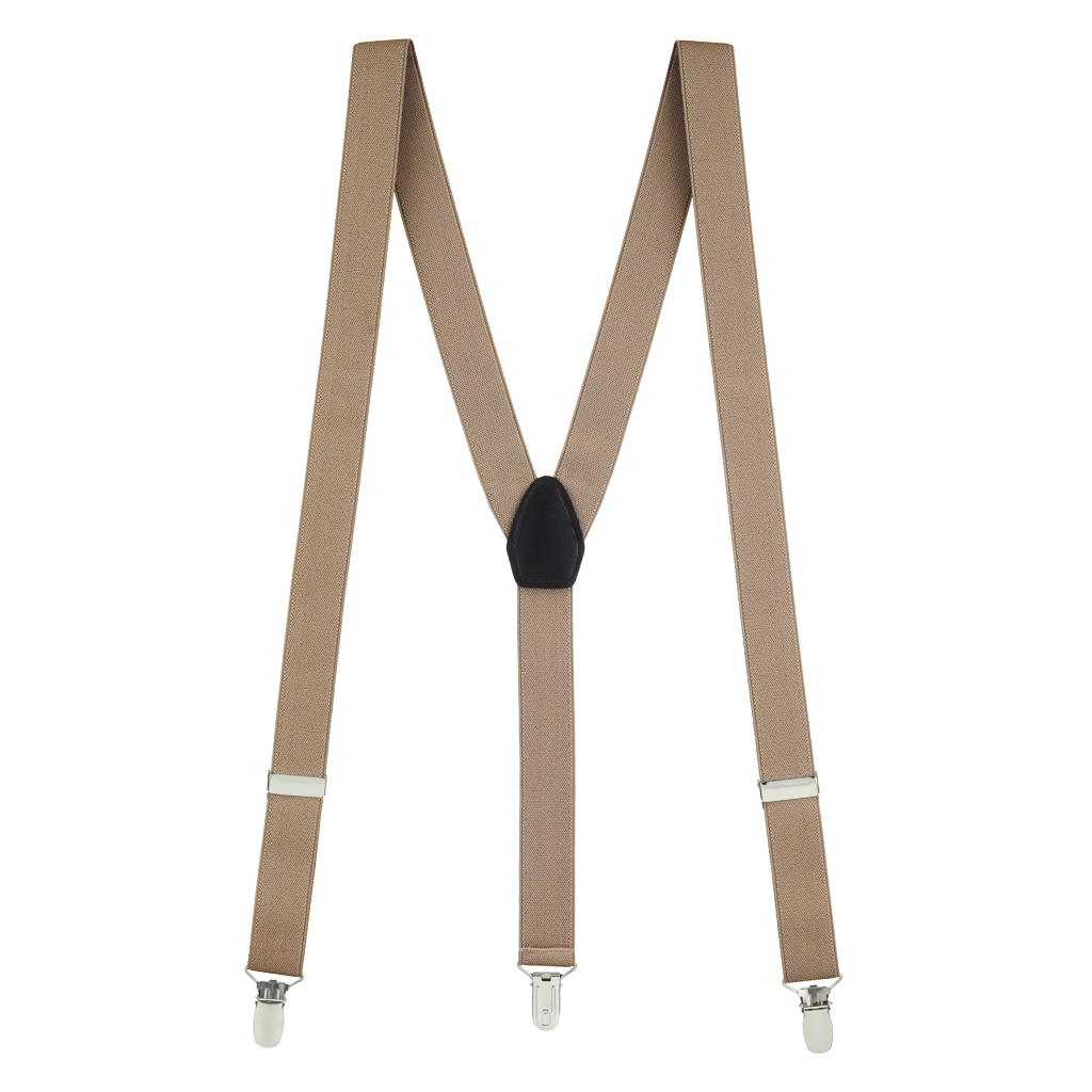 1 Inch Wide Y-Back Clip Suspenders in Taupe - Full View