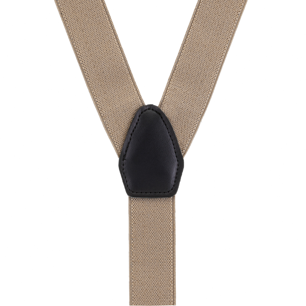 1 Inch Wide Y-Back Clip Suspenders in Taupe - Rear View