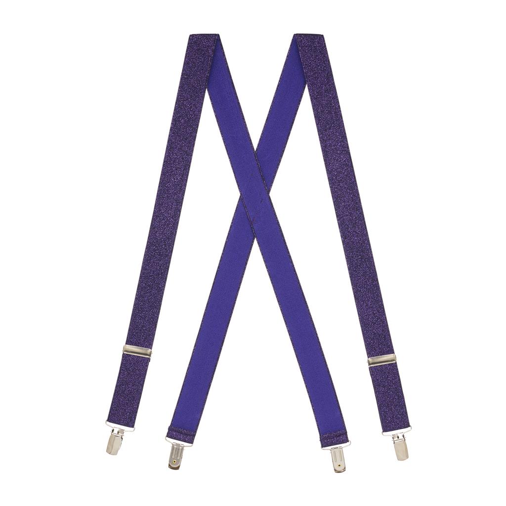 Glitter Suspenders in Purple - Full View