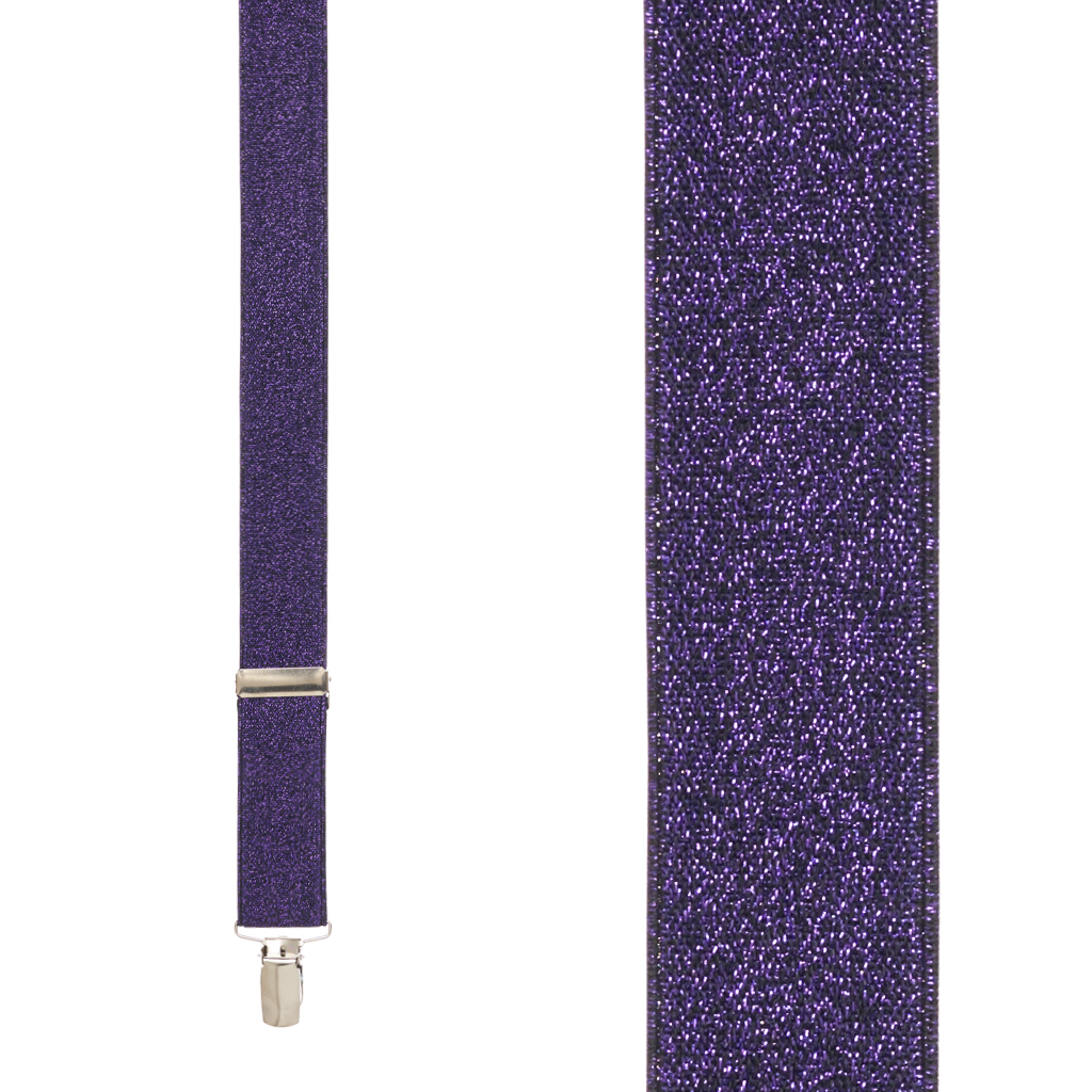 Glitter Suspenders in Purple - Front View