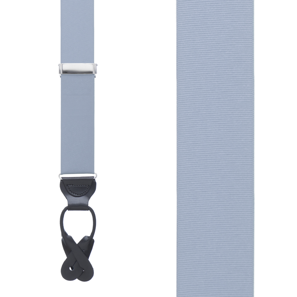 Grosgrain Button Suspenders - Steel Blue Front View