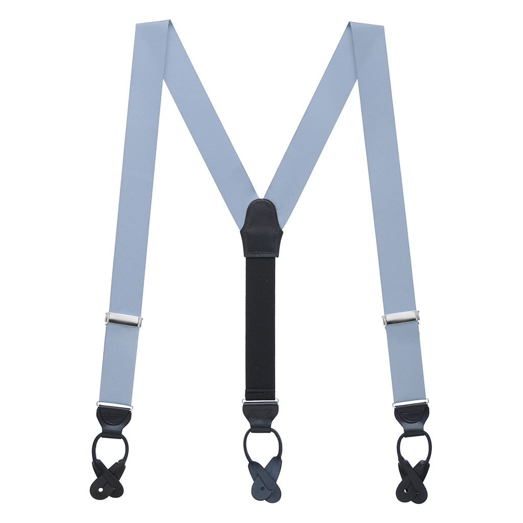 Grosgrain Button Suspenders - Steel Blue Full View