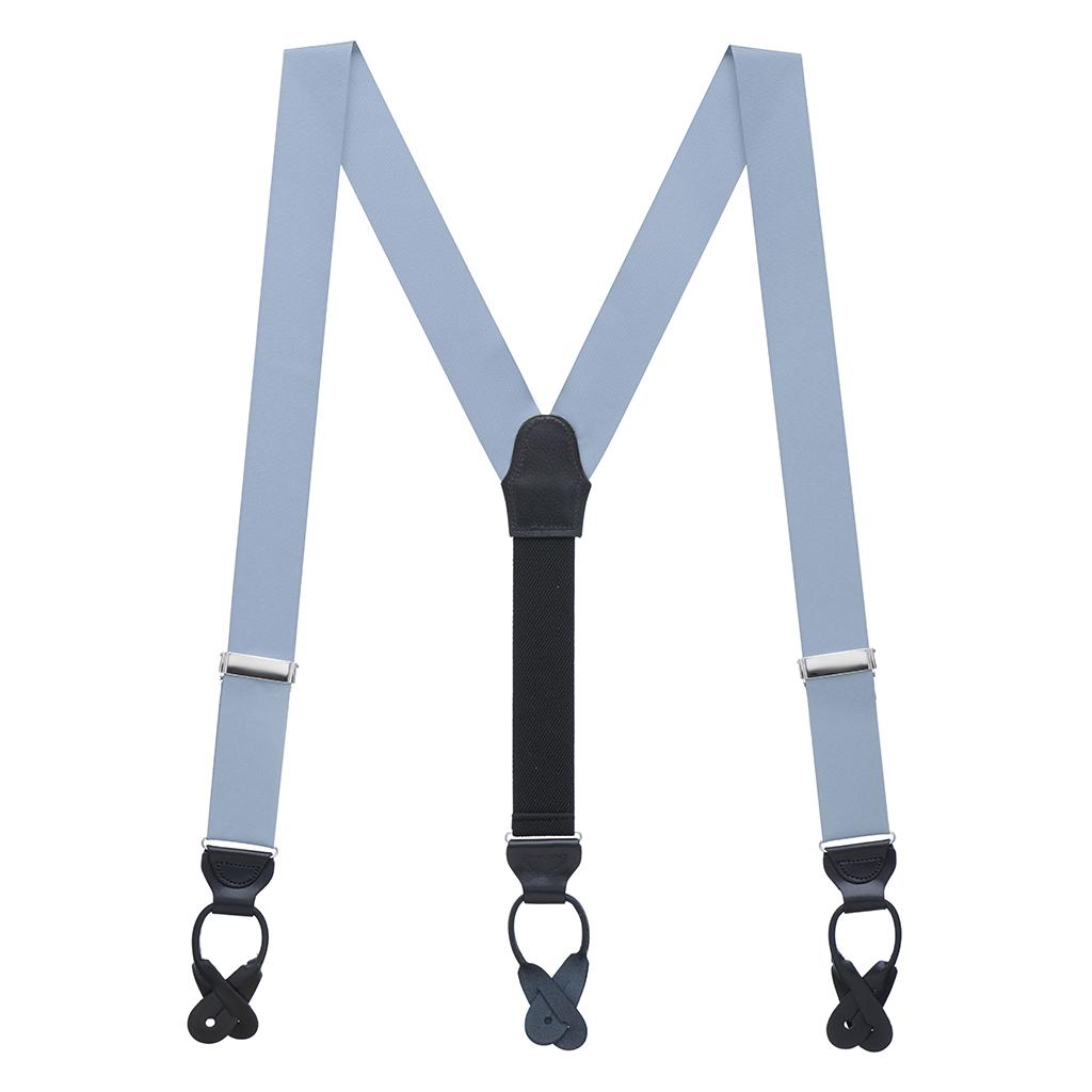 Grosgrain Button Suspenders - Steel Blue Full View