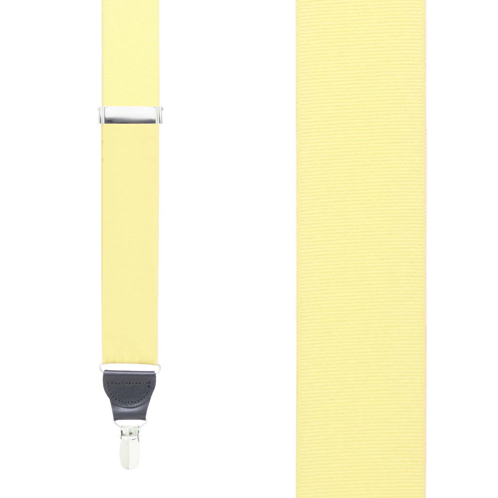 Grosgrain Clip Suspenders - Light Yellow Front View