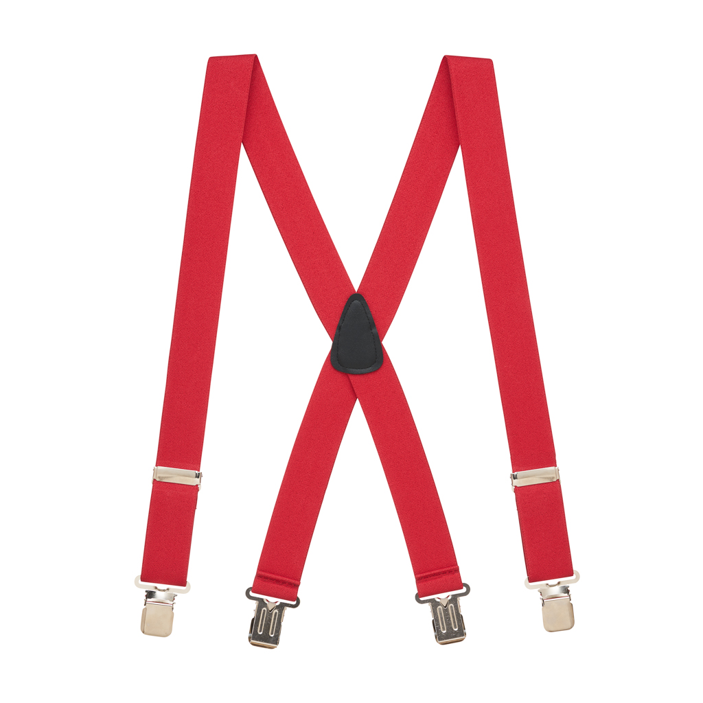 Full View - 1.5 Inch Wide Construction Clip Suspenders - RED