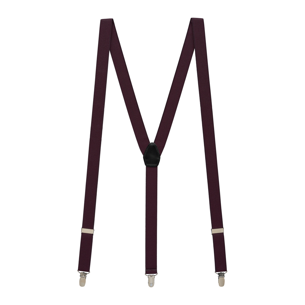 1-Inch Clip Suspenders in Eggplant - Full View