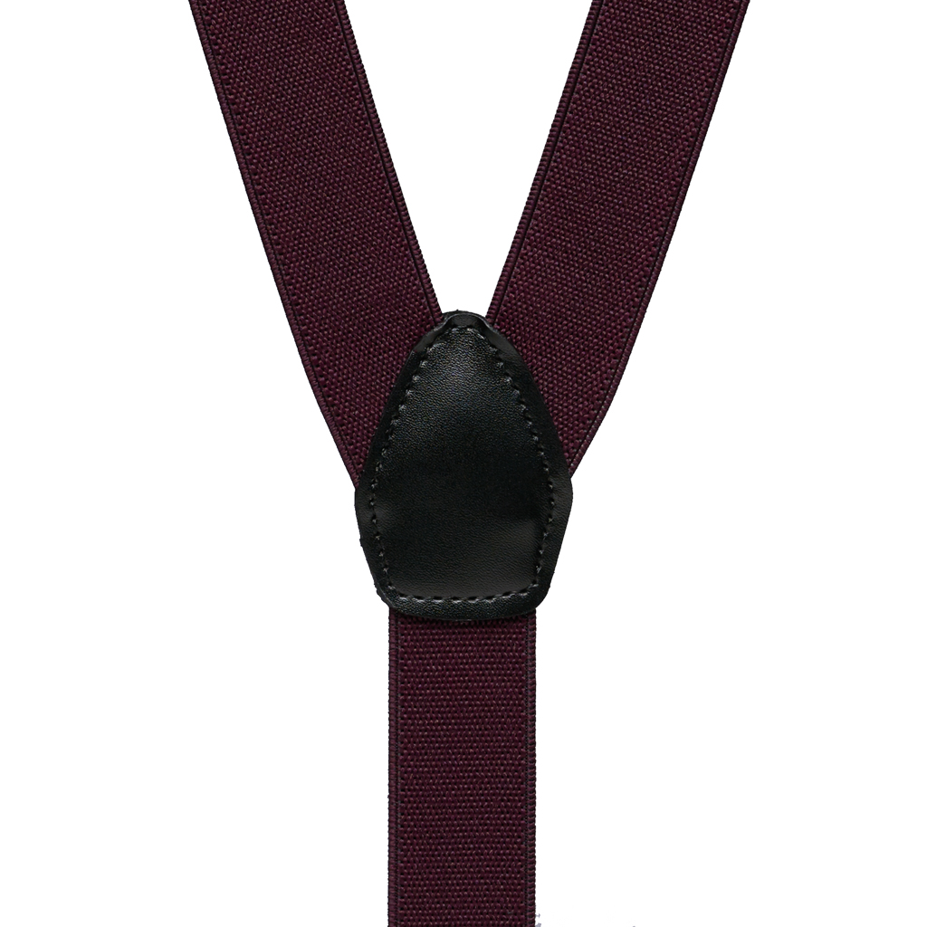 1-Inch Clip Suspenders in Eggplant - Rear View