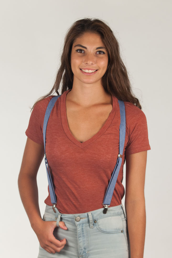 Model Wearing Denim Suspenders - 1 Inch Wide - Front View