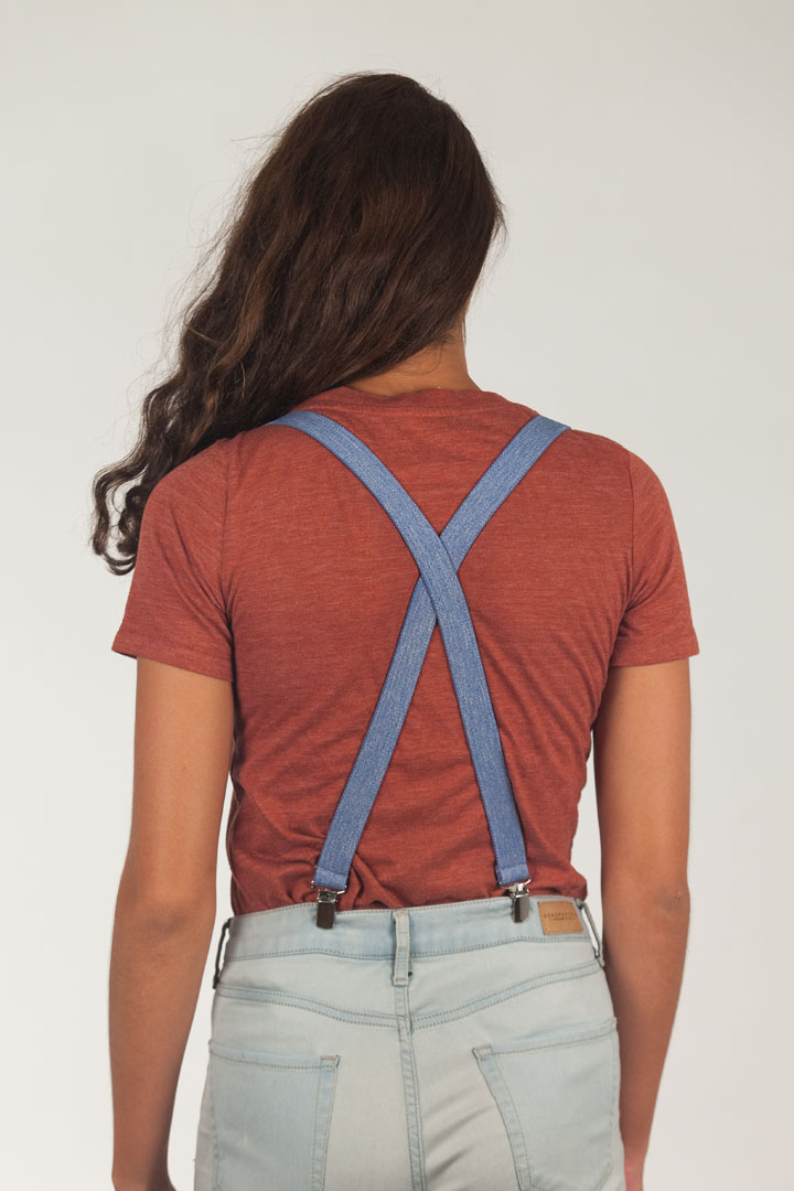 Model Wearing Denim Suspenders - 1 Inch Wide - Rear View
