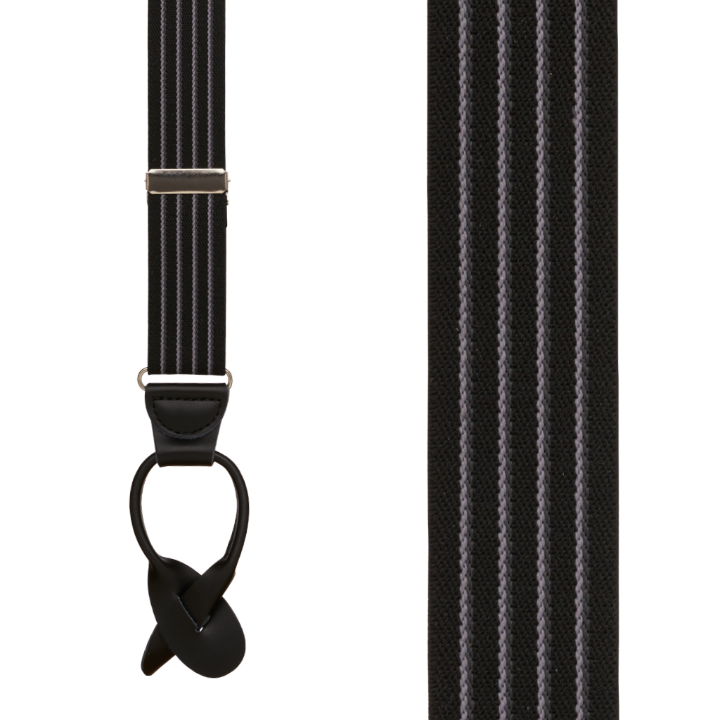 Pinstripe Elastic Button Suspenders in Black - Front View