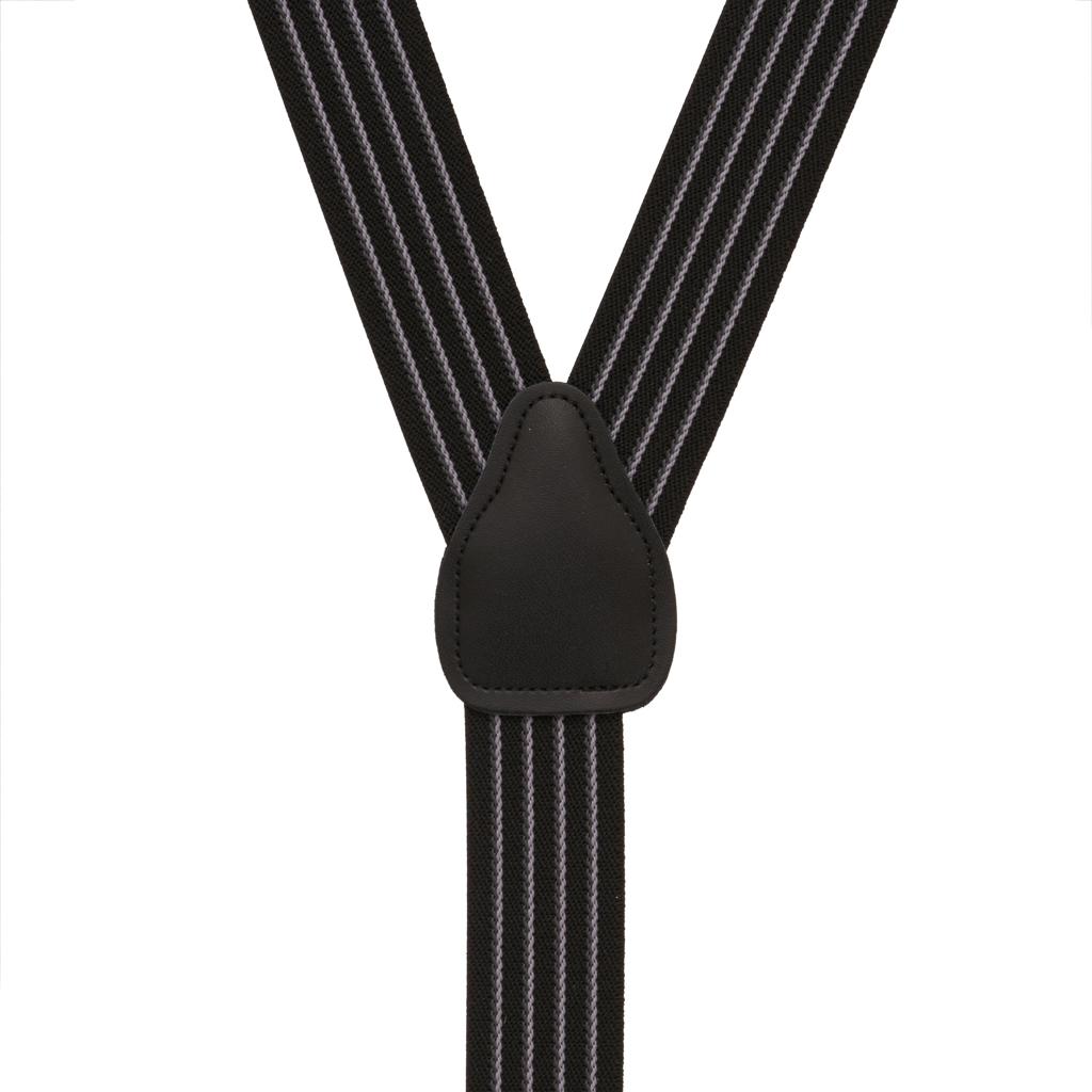 Pinstripe Elastic Button Suspenders in Black - Rear View