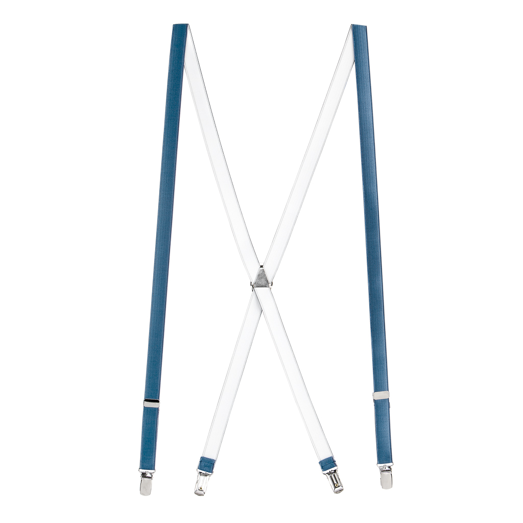 Satin Finish Suspenders in Powder Blue - Full View